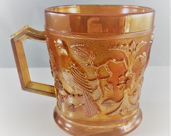 Classic Carnival Glass Mug - Imperial Glass - Robin Mug - Iridescent Cup - Vintage Shaving Cup