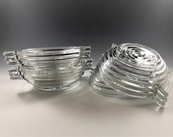 Set of 4 Hocking Manhattan Pattern Small Fruit/Dessert Bowls - Art Deco Handled Bowls - Depression Era Glass Bowls