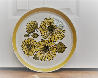 Large Ironstone Sunflower Serving Platter - Chop Plate - Crown Lynn Charmaine - New Zealand