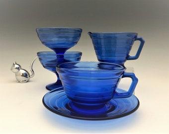 Hazel Atlas Moderntone Cobalt - 5 Piece Set - Two Sherbets, Cup and Saucer, and Creamer - Ritz Blue