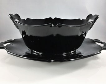 Black Amethyst Depression Glass Bowl and Underplate - L.E. Smith Mt. Pleasant Pattern