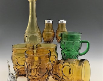 Wheaton Glass - Bullseye Pattern - 8 Pieces Collection - Genie Vase - Tumblers - Creamer - Salt and Pepper Shakers