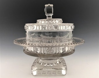 EAPG Covered Butter Dish - Belmont Glass Works - No. 444 - AKA Buttons and Star Band - Early American Pattern Glass - Circa 1888
