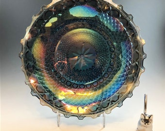 Indiana Glass Iridescent Blue Hostess Plate (#2908) - Contemporary Carnival Glass
