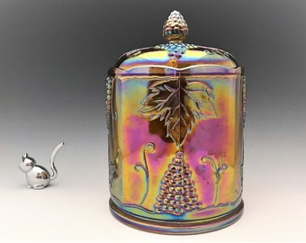Indiana Harvest Iridescent Amber Glass Jar - 9 Inch Amber Carnival Glass Canister