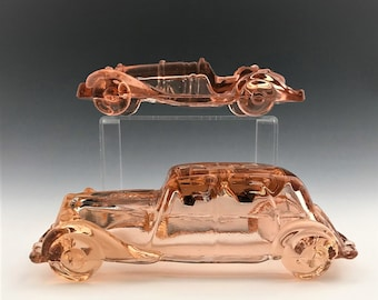 Set of 2 Vintage Pink Glass Automobiles - Depression Glass Cars - Pressed Pink Glass - Hard to Find