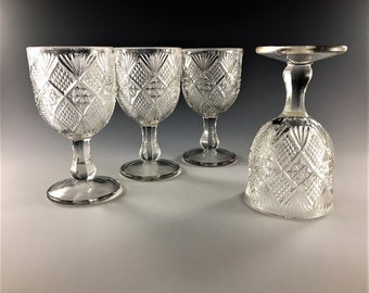 Set of 4 EAPG Wine Glasses - Model Flint Glass Company - Peerless Pattern (OMN) - Circa 1896