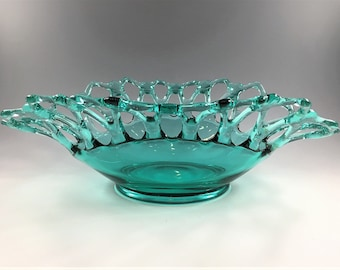 Westmoreland Doric Pattern Teal Green Centerpiece Bowl - Open Lace Console Bowl - Vintage Blue Green Bowl - Lace Edge