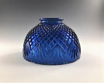Vintage L.E. Smith Glass Fairy Light - Blue Lamp Shade - Pineapple Pattern -