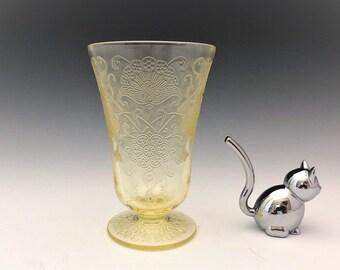 Hazel Atlas Florentine 2 Footed Tumbler - 9 Ounce Tumbler - Topaz Depression Glass - Hard to Find - Poppy Pattern