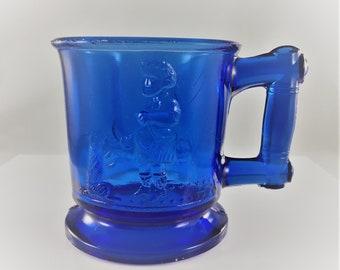 Vintage Cobalt Blue Mug - Boy With Begging Dog - Bryce Brothers - Victorian Era Glass - EAPG