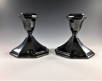 Set of 2 Silver-Plated Candlestick Holders - Wallace 5010 - Sterling Silver Candle Catchers