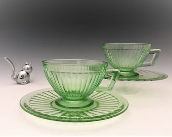 Economy Glass Round Robin Pattern - Set of 2 Cups and Saucers - Green Depression Glass - Glowing Uranium Glass