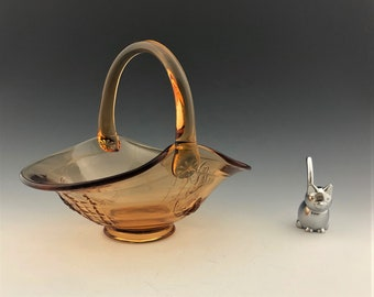 Westmoreland Glass Rose and Trellis Handled Basket - Golden Sunset