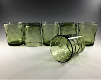 Set of 6 Mid Century Hazel Atlas 8 Ounce Flat Tumblers - Eldorado Green Pattern - Old Fashioned Glasses - Coin Dot - Green Glass