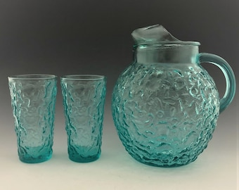 Anchor Hocking Milano Aqua Pitcher and Two 12 Ounce Flat Tumblers - Hard to Find - Mid-Century Drinkware