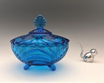 Caprice Pattern Dark Blue Covered Candy Dish - Imperial Glass From Cambridge Molds