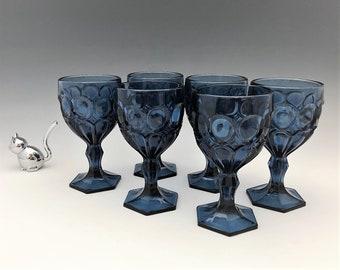 Fostoria Moonstone Wine Glasses - Set of 6 Dark Blue Wine Glasses