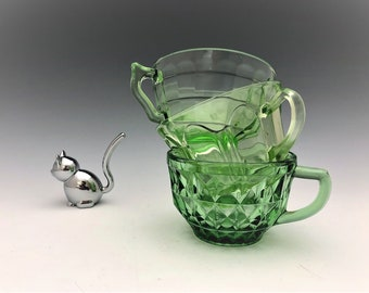 Set of 3 Uranium Glass Cups - Hocking Colonial - Hocking Block Optic - Jeannette Windsor - Green Depression Glass - Glowing Glass