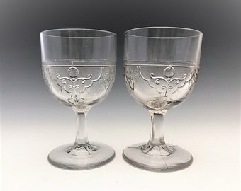 EAPG Goblets - McKee and Brothers - Rustic (OMN) Pattern - AKA Drapery Variant - Early American Pattern Glass - 1871