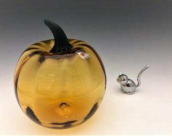 Blenko Hand Blown Art Glass Pumpkin - Amber Pumpkin - West Virginia Glass