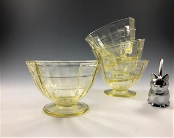 Set of 4 Depression Glass Sherbets - Hocking Block Optic Pattern - Topaz Depression Glass - Hard to Find - Glowing Glass - 1929-33