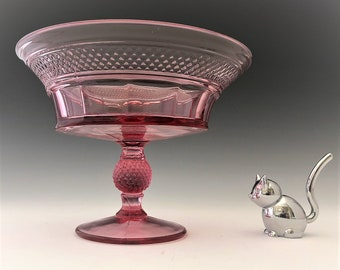 Viking Glass Compote - Mt. Vernon Pattern (#1600) - Thistle Compote - Light Purple Glass