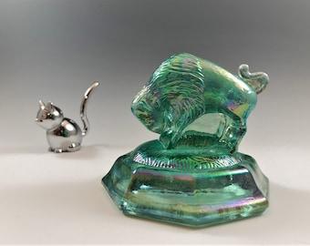 Iridescent Green Glass Buffalo Paperweight - Summit Glass - Green Carnival Glass - Hard to Find