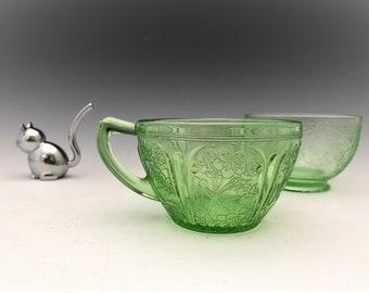 Uranium Glass Cups - Hazel Atlas Florentine 1 and Jeannette Glass Cherry Blossom - Green Depression Glass - Glowing Uranium Glass