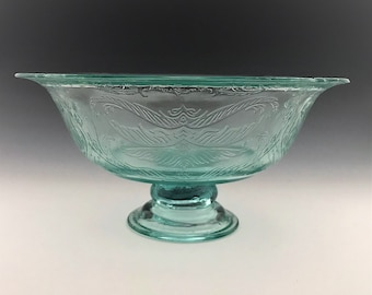Indiana Glass Recollection Pedestal Center Bowl - Teal Glassware - Madrid Pattern Reissue - Original Box