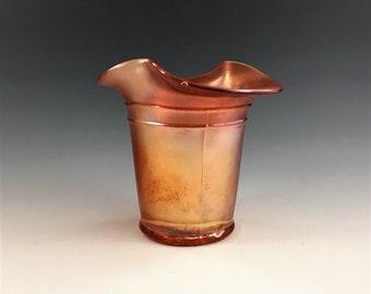 Vintage Carnival Glass Vase - Dugan Violet Basket - Marigold Iridescent Glass