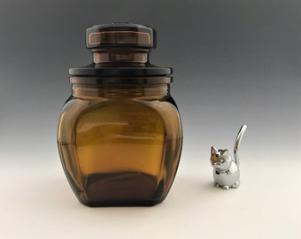 Vintage Belgian Amber Brown Glass Jar - Lidded Storage Container - Belgium Apothecary