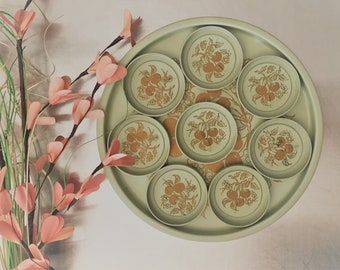 Vintage Green Metal Tray With 8 Coasters - Gold Accents - Mid Century Barware - Round Bar or Serving Tray