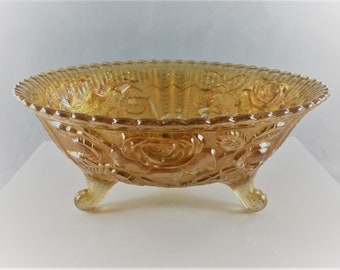 Vintage Carnival Glass Footed Bowl - Imperial Glass - Open Rose Pattern - Lustre Rose