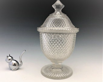 EAPG Covered Sugar Bowl - New England Glass Company - Sharp Diamond Pattern - AKA Diamond Point - Early American Pattern Glass - Circa 1868