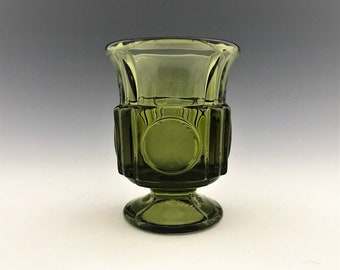 Stunning Fostoria Olive Green Coin Glass Footed Cigarette Urn - Hard to Find