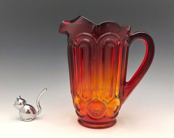 L.E. Smith Moon and Star 2 1/2 Pint Pitcher (6228) - Amberina Pitcher
