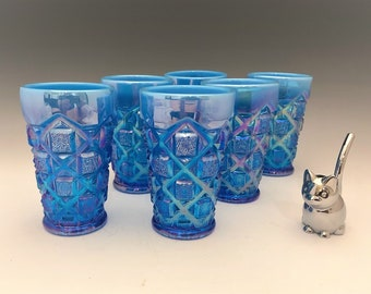 Westmoreland Old Quilt Tumblers - Electric Blue Opalescent Carnival - Set of 6 Juice Tumblers - Westmoreland For Levay
