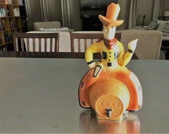 Rare Seaman's Bank - Vintage Cowboy Bank - Ceramic Piggy Bank - Cowboy On A Barrel Bank - Western Bank
