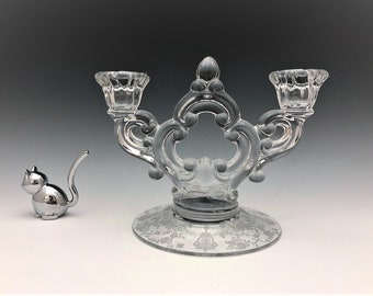 Cambridge No. 647 Two Light Keyhole Candlestick Holder - Elegant Glass Candlestick Holder - Rose Point Etch