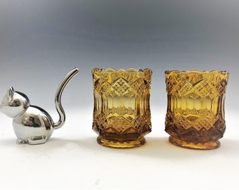 Set of Two Imperial Glass Amber Toothpick or Match Holders
