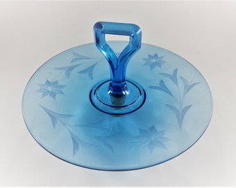 Vintage Cambridge Blue Glass Center Handled Server (CHS) - Round Serving Tray - Vintage Blue Glass - No. 1917