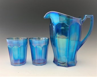 Westmoreland No. 1776 Colonial Water Set  - Electric Blue Carnival Glass - Made for Levay Glass - Pitcher and Six Tumblers