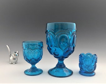 L.E. Smith Moon and Stars Colonial Blue Collection - 3 Ounce Cordial Glass (#4272) - 11 Ounce Goblet (#3602) - Toothpick Holder (#4211)