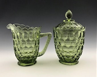 Fenton Thumbprint Colonial Green Breakfast Set - Creamer and Covered Sugar Bowl