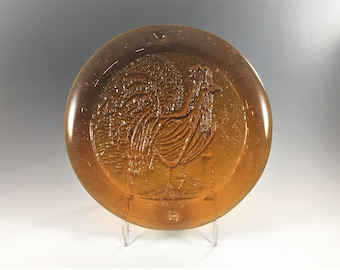 Amber Glass Chicken or Rooster Plate - Embossed Chicken Wall Hanging - Art Glass Chicken Decor - Chicken Lovers Unite