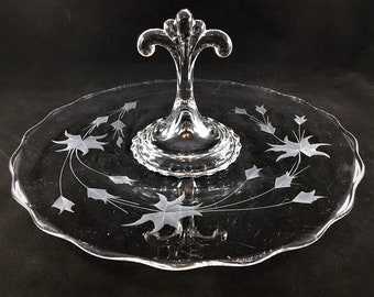 Viking Glass - No. 5246 - Princess Sandwich Tray - Center Handle Server - Mid Century Glassware