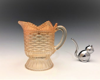 Westmoreland Glass - Basketweave and Cable Pattern - Creamer or Cream Pitcher - Vintage Iridescent Glass