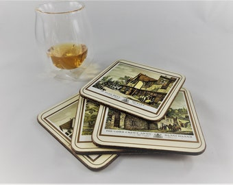Set of 4 Vintage Pimpernel Coasters - English Scenes - Cork Backing - Vintage Barware Accessories