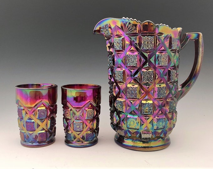 Featured listing image: Westmoreland Old Quilt Water Set - Ruby Red Carnival Glass - Pitcher and Six Tumblers